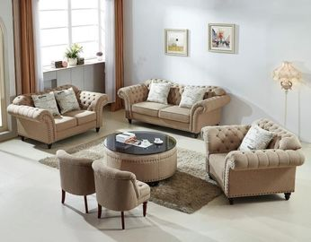 Modernes graues Gewebe-Chesterfield-Sofa, weiches ledernes Chesterfield-Sofa